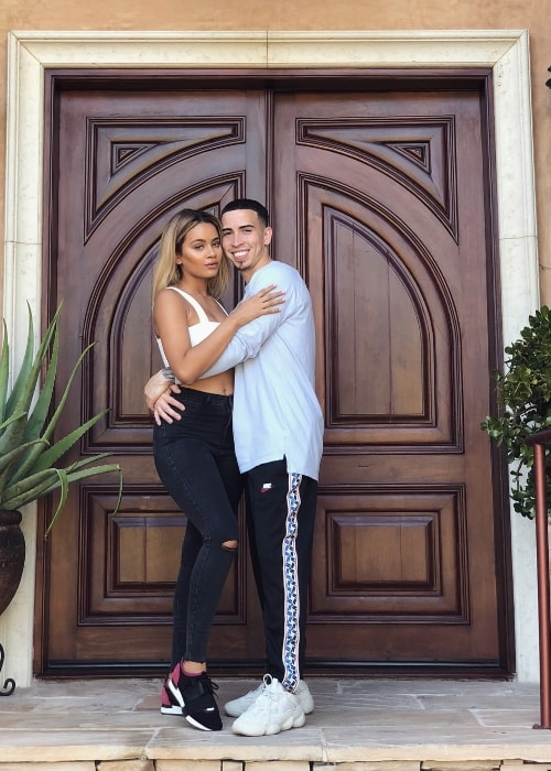 Shyla Walker as seen while posing for a picture along with Landon McBroom in Los Angeles, California, United States in August 2018