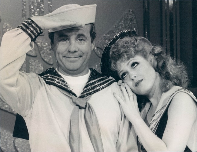 Tim Conway as seen in a picture alongside actress and singer, Bernadette Peters, on the 'Tim Conway Show' in 1977