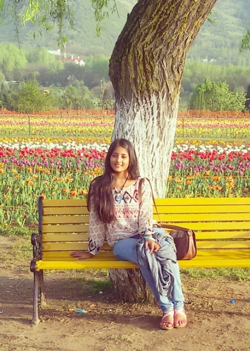Ulka Gupta as seen in a picture taken at the Indira Gandhi Memorial Tulip Garden in Srinagar in April 2015