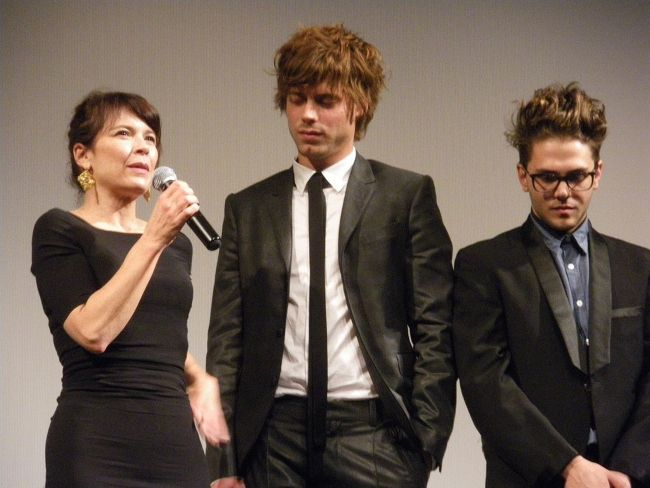 Actors Anne Dorval and François Arnaud with Xavier Dolan (far right) during the screening of I Killed My Mother at the Toronto International Film Festival in 2009