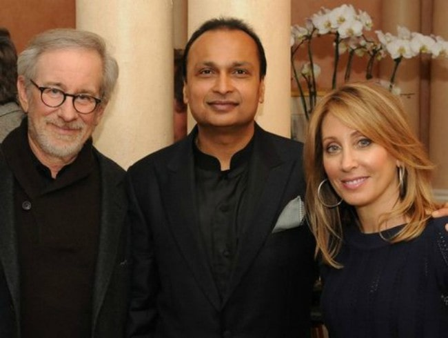 Anil Ambani (Center) and Steven Spielberg (Left) as seen in February 2013