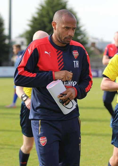 Arsenal youth team coach Thierry Henry seen after the match against Olympiacos in 2015