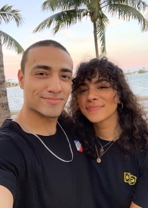 Aurora Perrineau as seen while posing for a selfie along with Freddy Miyares in Pérez Art Museum Miami in Florida, United States in May 2019