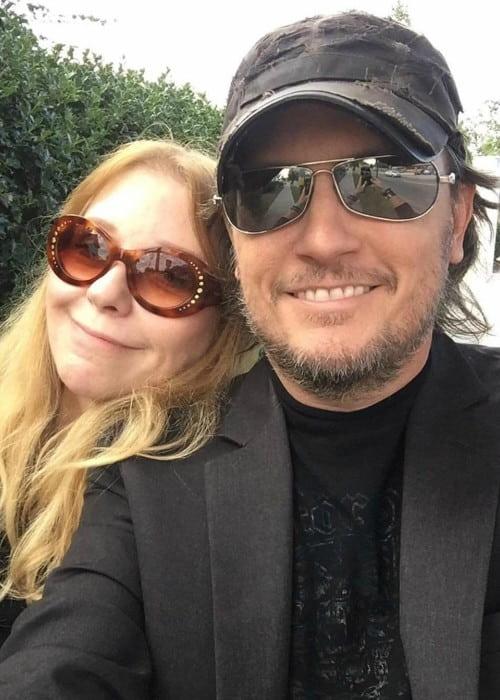 Bebe Buell and Michael Schmidt in a selfie in July 2019
