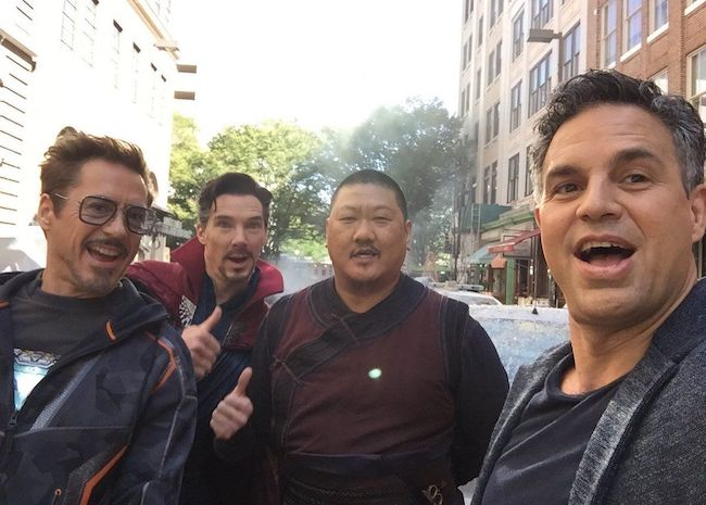 Benedict Wong (Third From Left) with Avengers star cast