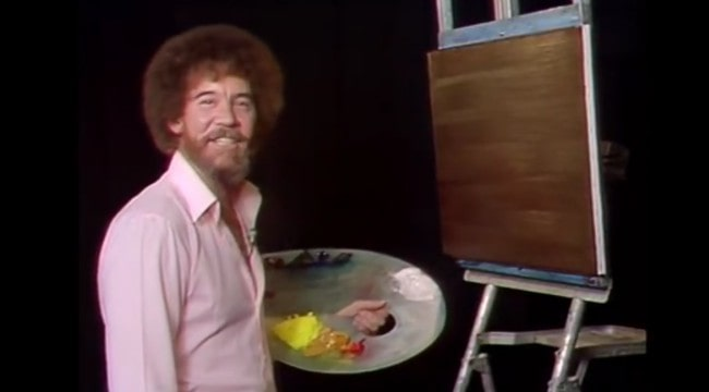 Bob Ross in a still from the 6th season of The Joy of Painting in 1985