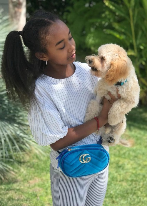 Chance Combs with her dog as seen in April 2018