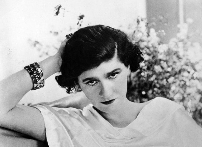 Coco Chanel as seen in a black-and-white picture in 1920