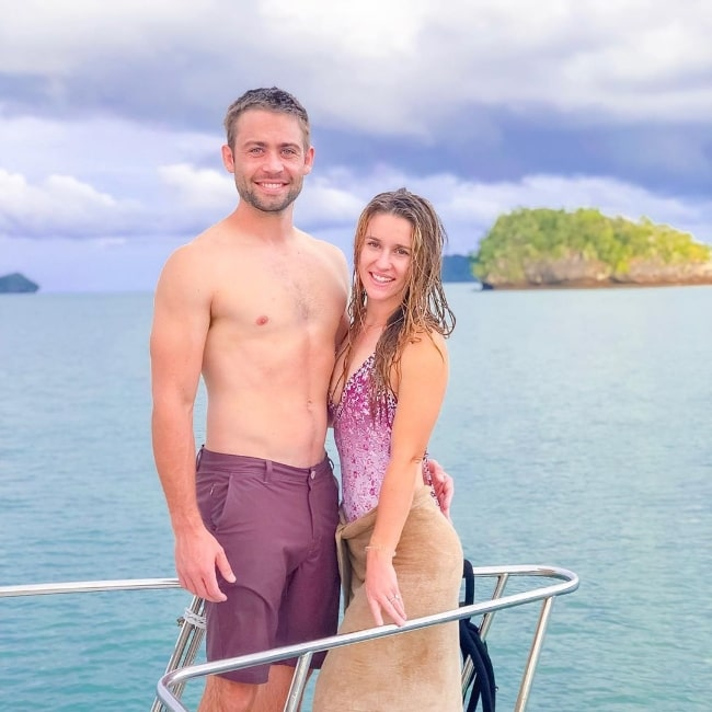 Cody Walker as seen while posing for a picture with a gorgeous setting during a boat cruise along with Felicia Walker in Langkawi, Malaysia in October 2019