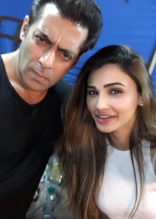 Daisy Shah as seen in a picture with actor Salman Khan taken in December 2017