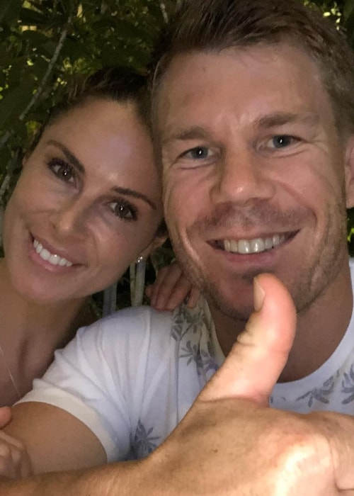 David Warner as seen in a selfie taken with his wife Candice Warner in May 2018