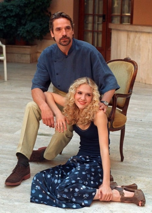 Dominique Swain and Jeremy Irons as seen in a picture during the promotion of their film Lolita in Italy in 1997
