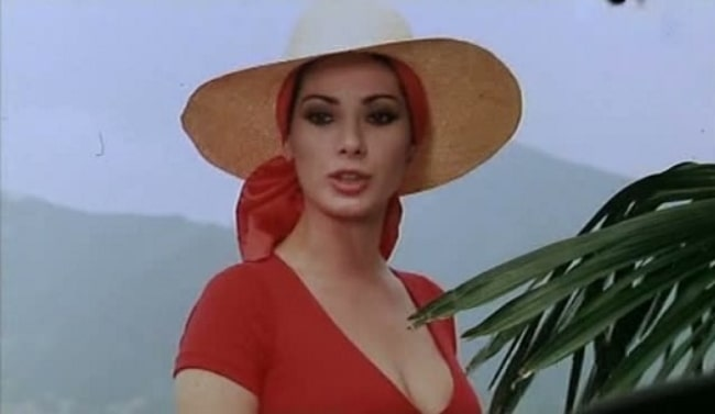 Edwige Fenech as seen in a screenshot from the film 'La moglie vergine' by Franco Martinelli (1975)