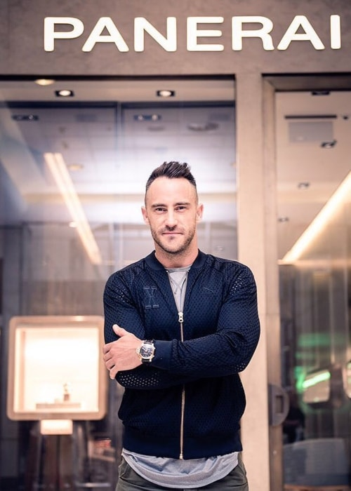 Faf du Plessis as seen in a picture taken in front of a Panerai's Sandton outlet in February 2016
