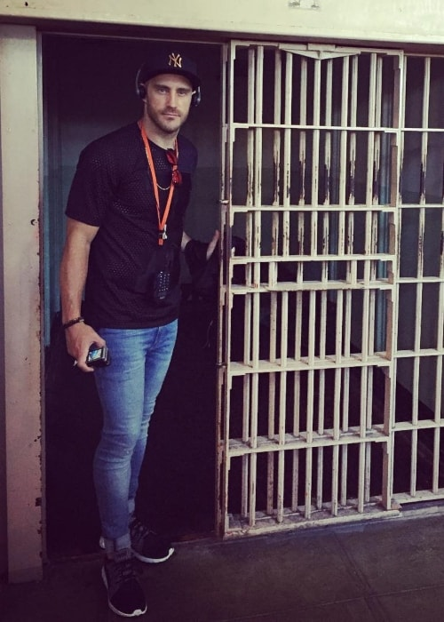 Faf du Plessis as seen in a picture taken inside the Alcatraz Federal Penitentiary in May 2016