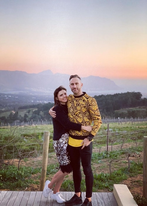 Faf du Plessis as seen in a picture taken with his wife Imari Visser in July 2019