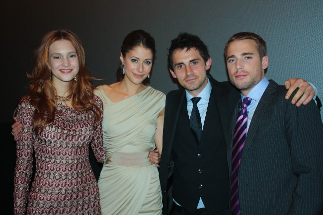 From Left to Right - Alexia Fast, Amanda Crew, Richard de Klerk, and Dustin Milligan as seen while posing for the camera at Toronto International Film Festival in September 2010