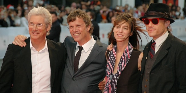 From Left to Right - Richard Gere, Todd Haynes, Charlotte Gainsbourg, and Heath Ledger as seen while posing for the camera at the 64th Venice Film Festival in September 2007