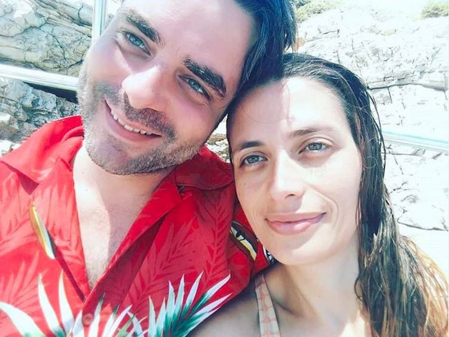 Giovanni Morassutti posing for a selfie with his girlfriend Francesca Tasini in Greece in 2018