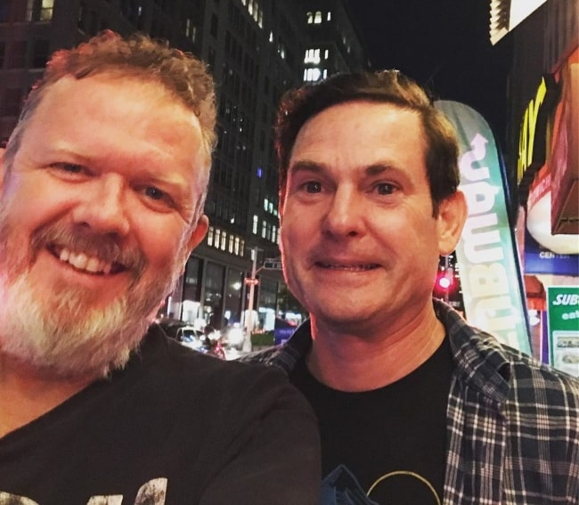 Henry Thomas (Right) as seen in a picture alongside Robert Macnaughton in Manhattan, New York City, New York in August 2019