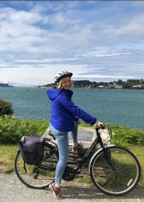 Jane Horrocks as seen in a picture taken riding the Camel Trail in June 2019