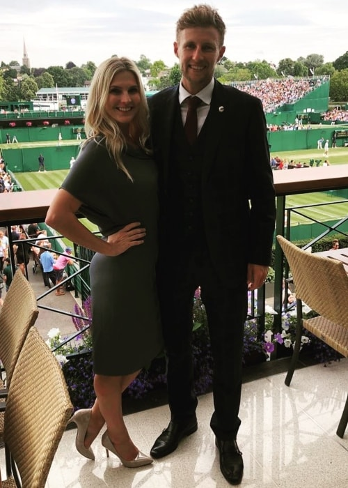 Joe Root as seen in a picture with his wife Carrie Cotterell as the Wimbledon in July 2019
