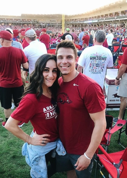 Jordyn Wieber as seen in a picture with her beau Chris Brooks taken at Baum Stadium in June 2019