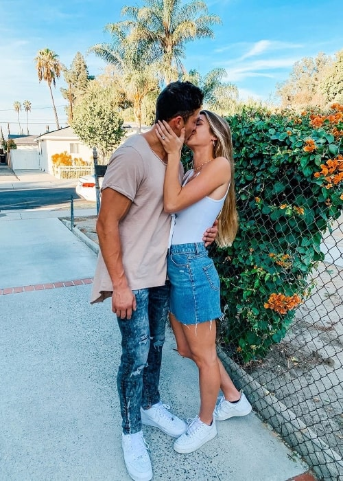 Josh Brueckner as seen while sharing a romantic moment with Katie Betzing in Los Angeles, California, United States in November 2019