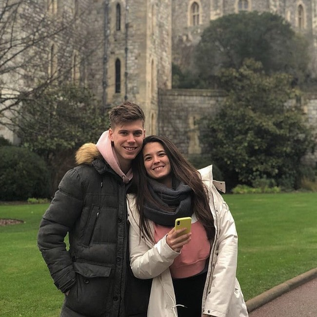 Juan Foyth with his wife Ariana Alonso as seen in April 2018