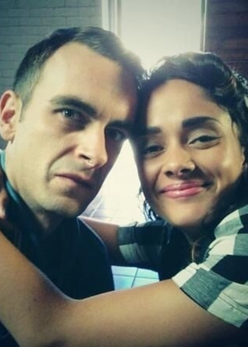 Karla Crome as seen in a picture taken with her co-star from Misfits (2012-2013) actor Joe Gilgun