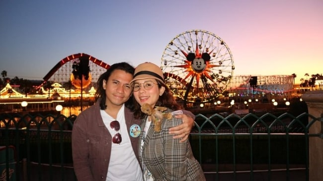 Karylle as seen while posing for a picture along with Yael Yrastorza Yuzon at Disney California Adventure Park in Anaheim, Orange County, California in October 2019