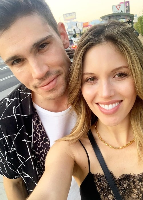 Kayla Ewell as seen in a selfie taken with her husband Tanner Novlan in Los Angeles, California in October 2019