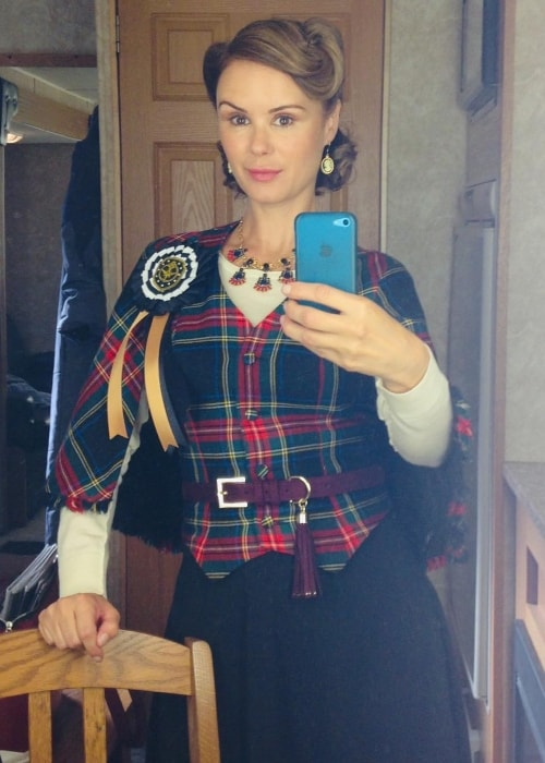 Keegan Connor Tracy as seen while taking a mirror selfie on the set of 'The Magicians'