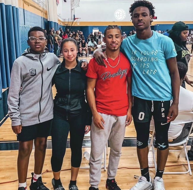 LeBron James Jr. (Right) with his friends as seen in June 2019