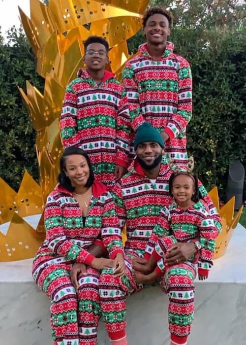 LeBron James Jr. with his family as seen in December 2018