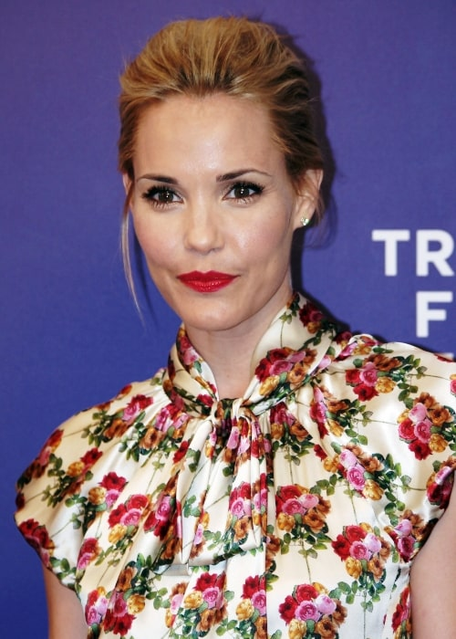 Leslie Bibb as seen in a picture taken at the April 2011 Tribeca Film Festival premiere of A Good Old Fashioned Orgy