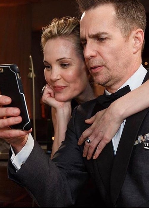Leslie Bibb as seen in a picture with her beau actor Sam Rockwell in January 2019