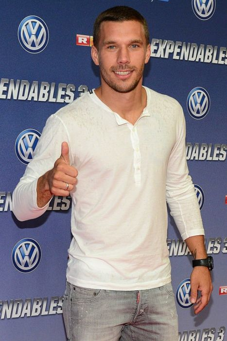 Lukas Podolski at the German premiere of The Expendables 3 in Cologne in 2014