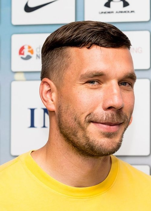 Lukas Podolski seen during Champions for Charity at the BayArena Stadium in Germany in July 2019
