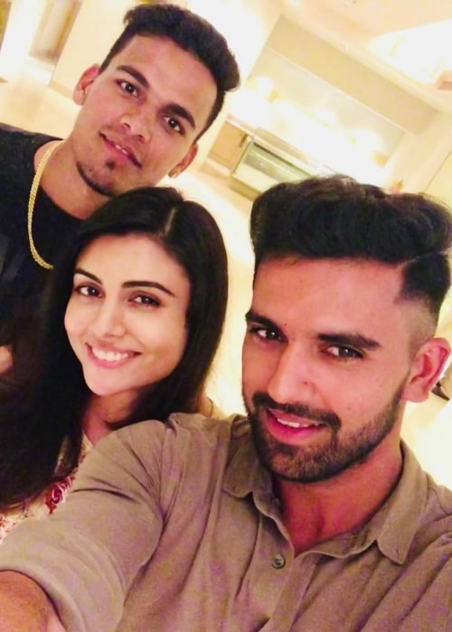 Malti Chahar as seen in a selfie taken with her brothers Rahul and Deepak Chahar at ITC Kakatiya, A Luxury Collection Hotel, Hyderabad in May 2019