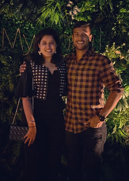 Mayank Agarwal as seen in a picture taken in Bangalore with his wife Aashita Sood in November 2019