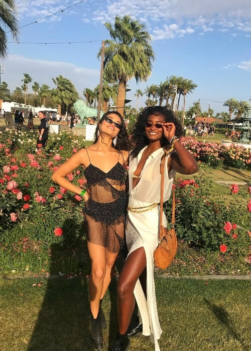 Melodie Monrose (Right) as seen while posing for a picture alongside Shanina Shaik at Coachella in Riverside County, California, United States in April 2019