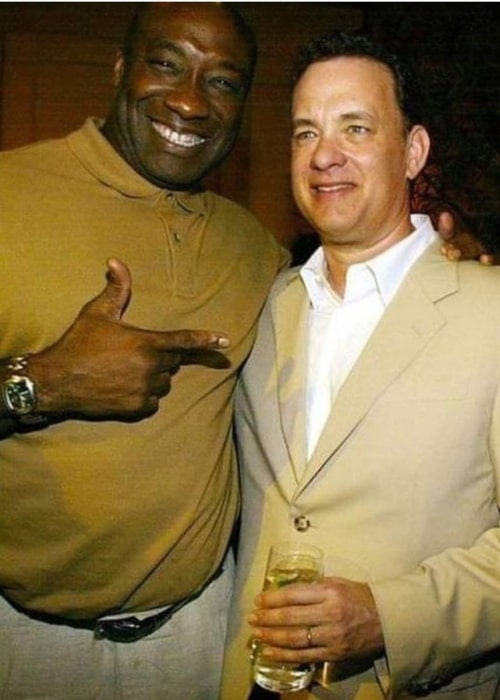 Michael Clarke Duncan as seen in a picture with actor Tom Hanks during the '90s