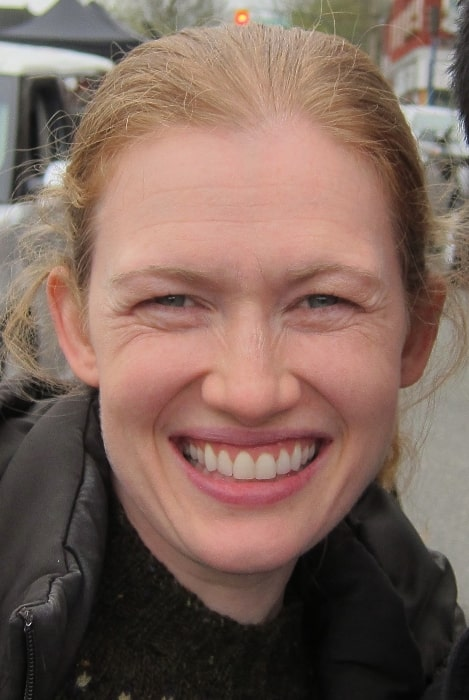 Mireille Enos as seen while smiling for the camera after she filmed a scene on 'The Killing' in March 2012