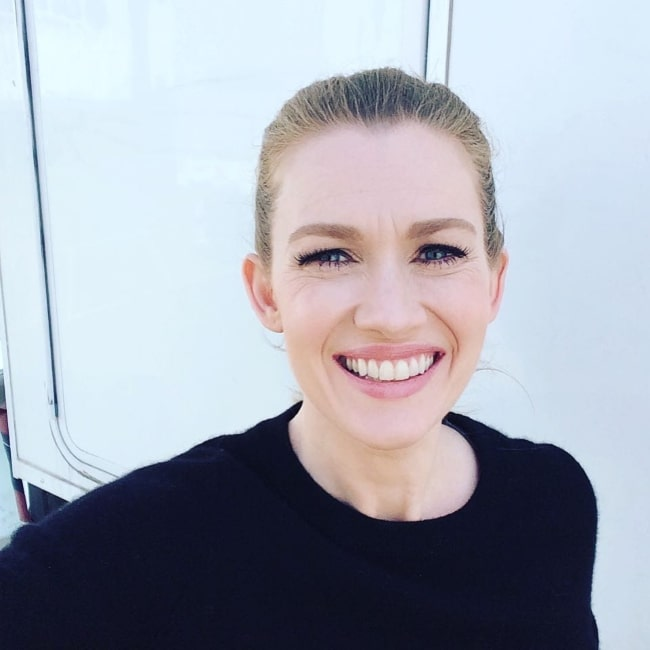 Mireille Enos as seen while smiling in a picture in April 2016