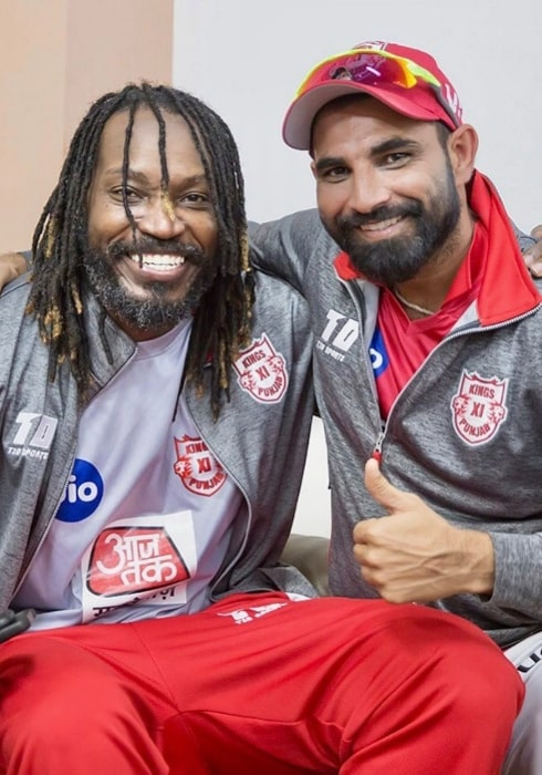 Mohammad Shami as seen in a picture with legendary Jamaican batsman Chris Gayle in September 2019