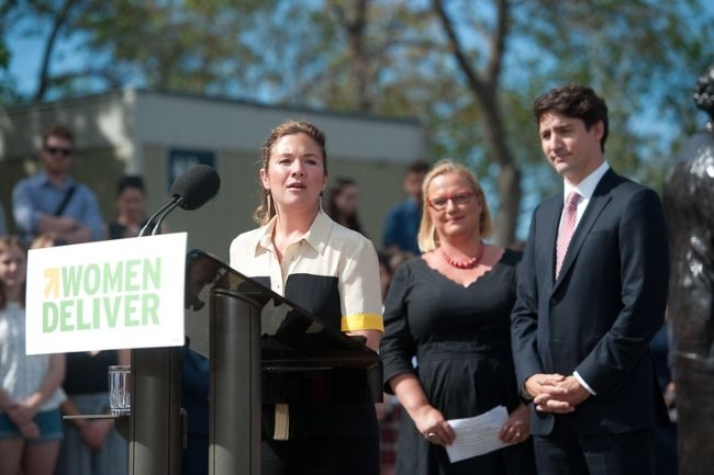 Mrs. Sophie and Justin Trudeau seen during the announcement of the Women Deliver 2019 conference location in June 2017