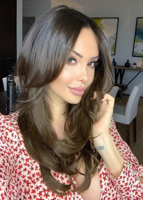 Nabilla Benattia in an Instagram selfie as seen in June 2019