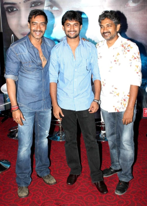Nani as seen in a picture taken at the special screening of 'Makkhi' with actor Ajay Devgn and directo S.S. Rajamouli