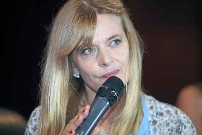 Nastassja Kinski as seen while speaking during an event in Yerevan, Armenia in July 2015